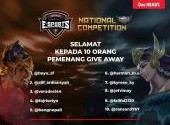 Pemenang Give Away Live Streeming Honda Community Esports National Mobile Legends Competition 2020