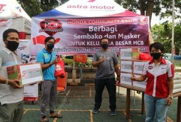 Honda Community Bali (HCB) Berbagi Sembako dan Masker