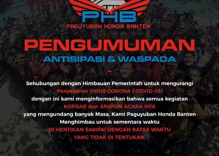 Paguyuban Honda Banten Himbau Agar Semua Komunitas #DiRumahAJa